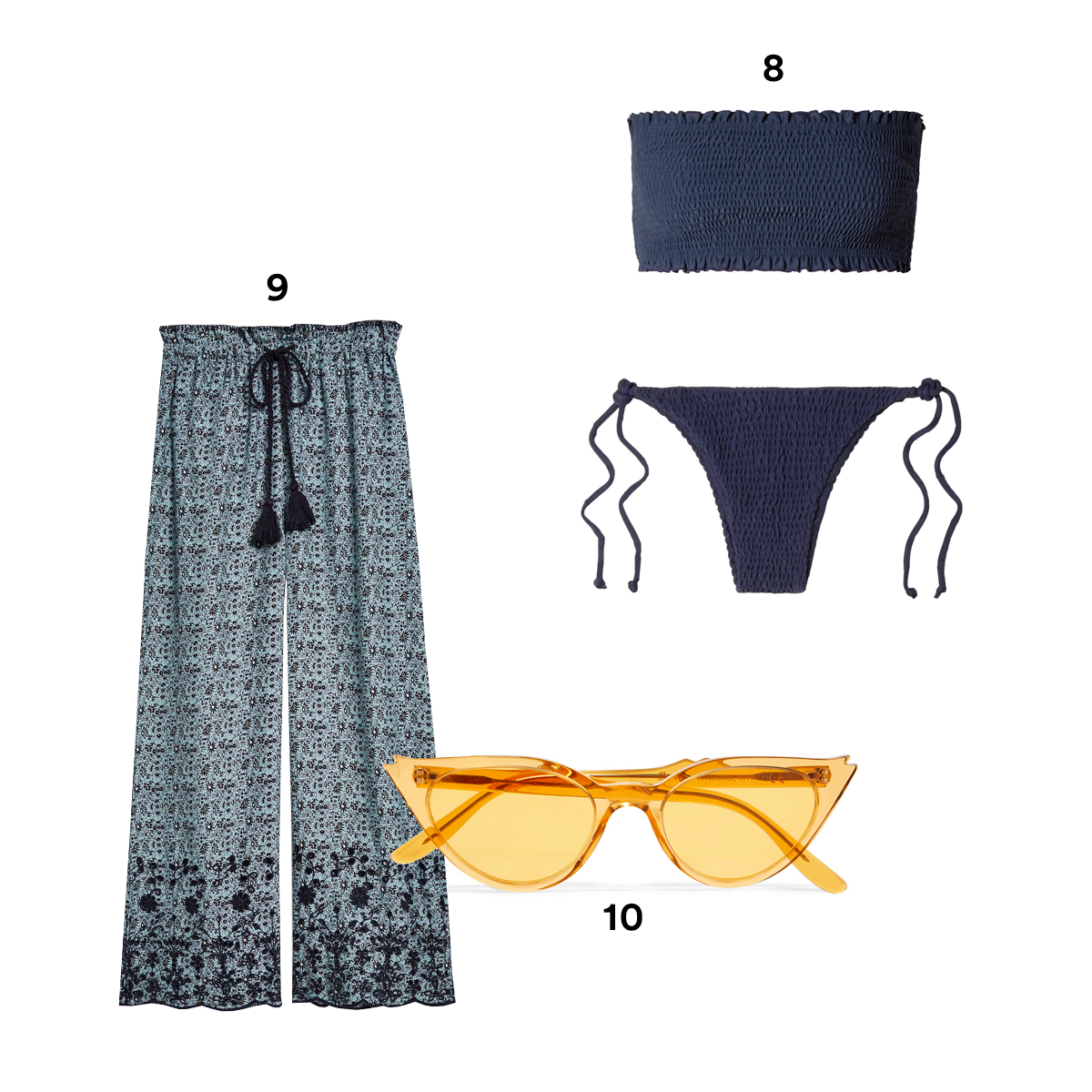 8.) FAITHFULL THE BRAND Behati and Candice Shirred Bandeau Bikini, available at Bloomingdales. 9.) TOPSHOP Ditsy Embroidered Tie Waist Culottes. 10.) ILLESTEVA Isabella Cat-Eye acetate Sunglasses, available at Barneys New York.