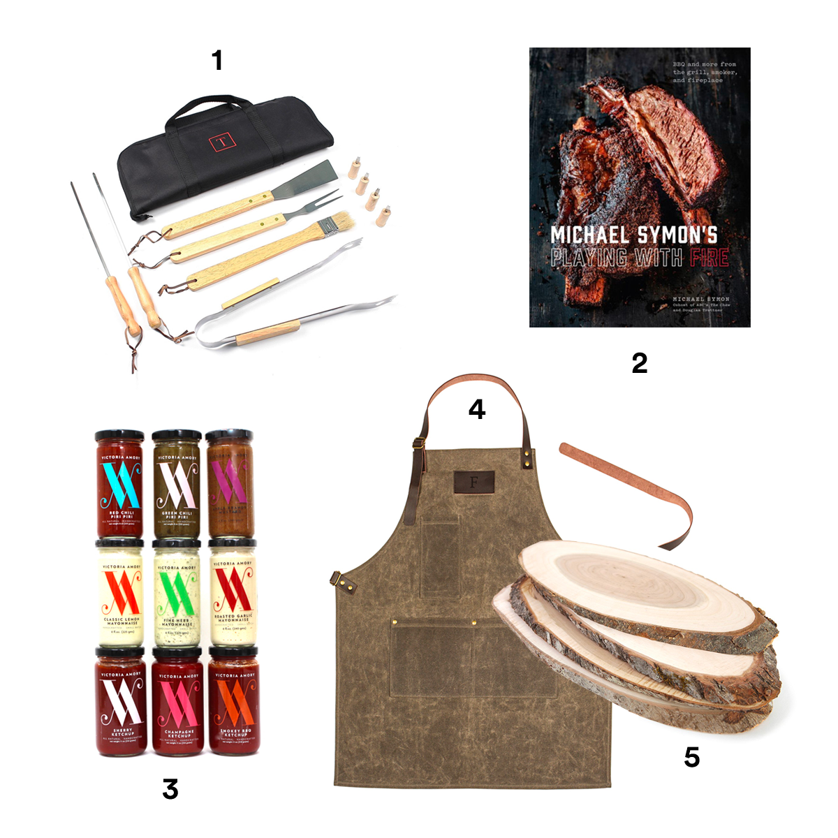1) CATHY'S CONCEPTS Monogram BBQ Grill Tools, available at Nordstrom. 2) MICHAEL SYMON'S Playing With Fire: BBQ and More from the Grill, Smoker, and Fireplace, available at Barnes & Noble. 3) VICTORIA AMORY & CO. Condiment Collection, available at Sur La Table. 4) CATHY'S CONCEPTS Monogram Apron, available at Nordstrom. 5) SCHMIDT BROTHERS BBQ Grill Planks, available at Bloomingdale's.