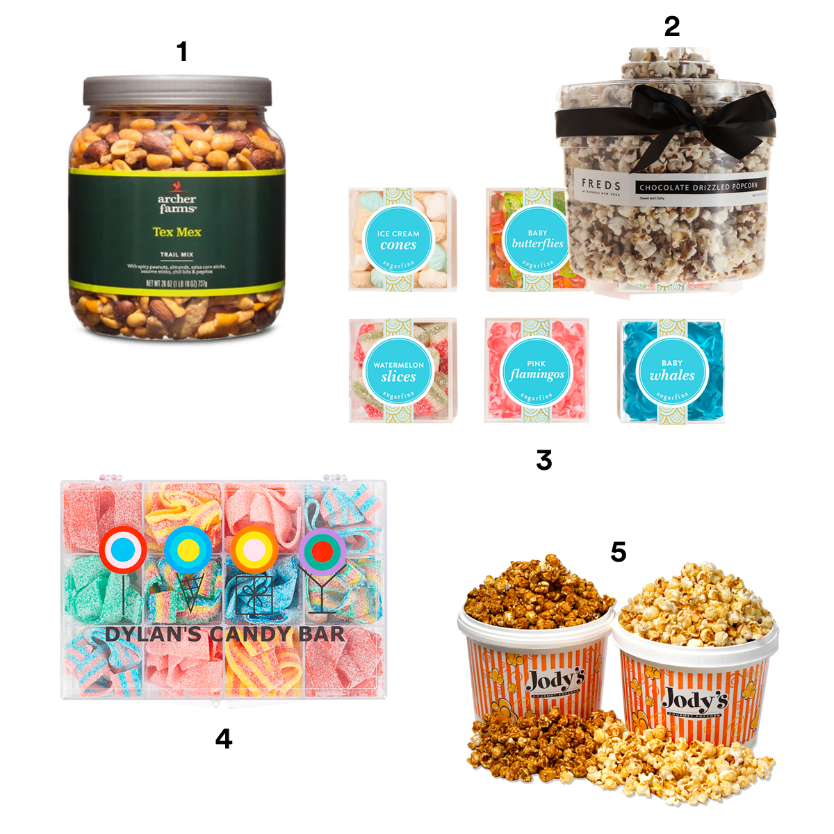 1) ARCHER FARMS Tex Mex Trail Mix, available at Target. 2) FREDS AT BARNEYS NEW YORK Chocolate-Drizzled Popcorn Tub, available at Barneys New York. 3) SUGARFINA Set of 6 Summer Fun Candy Cubes, available at Nordstrom. 4) DYLAN'S CANDY BAR Sour Belts Tackle Box, available at Nordstrom. 5) JODY'S Gourmet Popcorn, available at Bed Bath & Beyond.