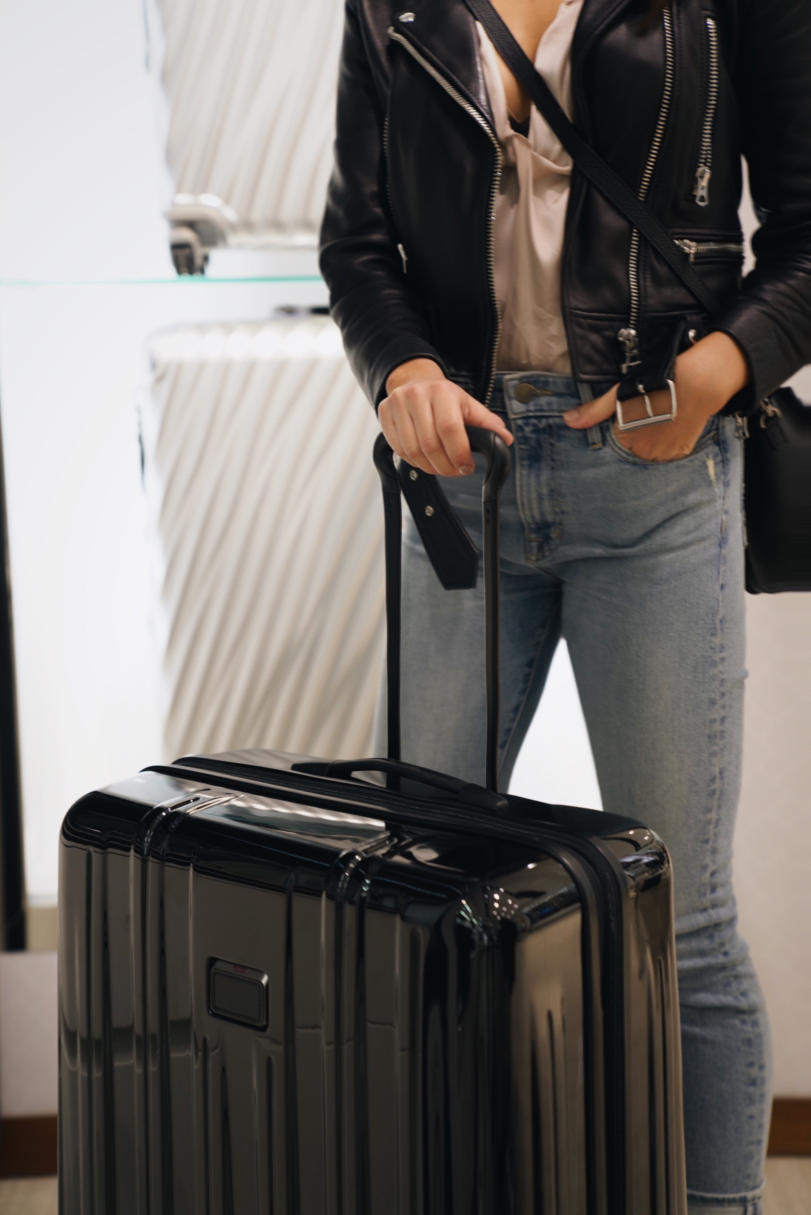 At Tumi, Kira found lightweight luggage, toiletry bags, and a leather phone case, all of which are sure to stand up to her rigorous travel schedule.