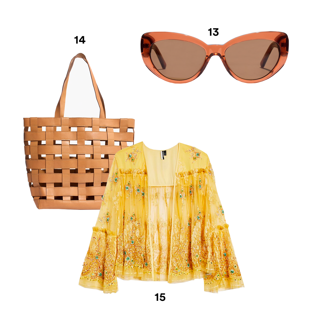13.) MADEWELL Adair Cat-Eye Sunglasses. 14.) MADEWELL The Medium Transport Tote. 15.) TOPSHOP Lace-Embellished Jacket.