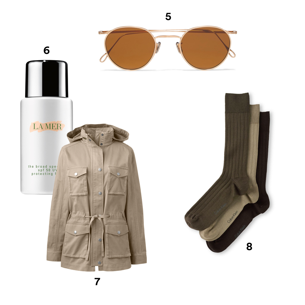 5.) EYEVAN 7285 Round Frame Gold-Tone Sunglasses, available at Barneys New York. 6.) LA MER The Broad Spectrum SPF 50 Daily UV Protecting Fluid, available at Nordstrom. 7.) LANDS' END Women's Petite Long Sleeve Military Jacket. 8.) CALVIN KLEIN 3-Pack Wide Rib Socks, available at Nordstrom.