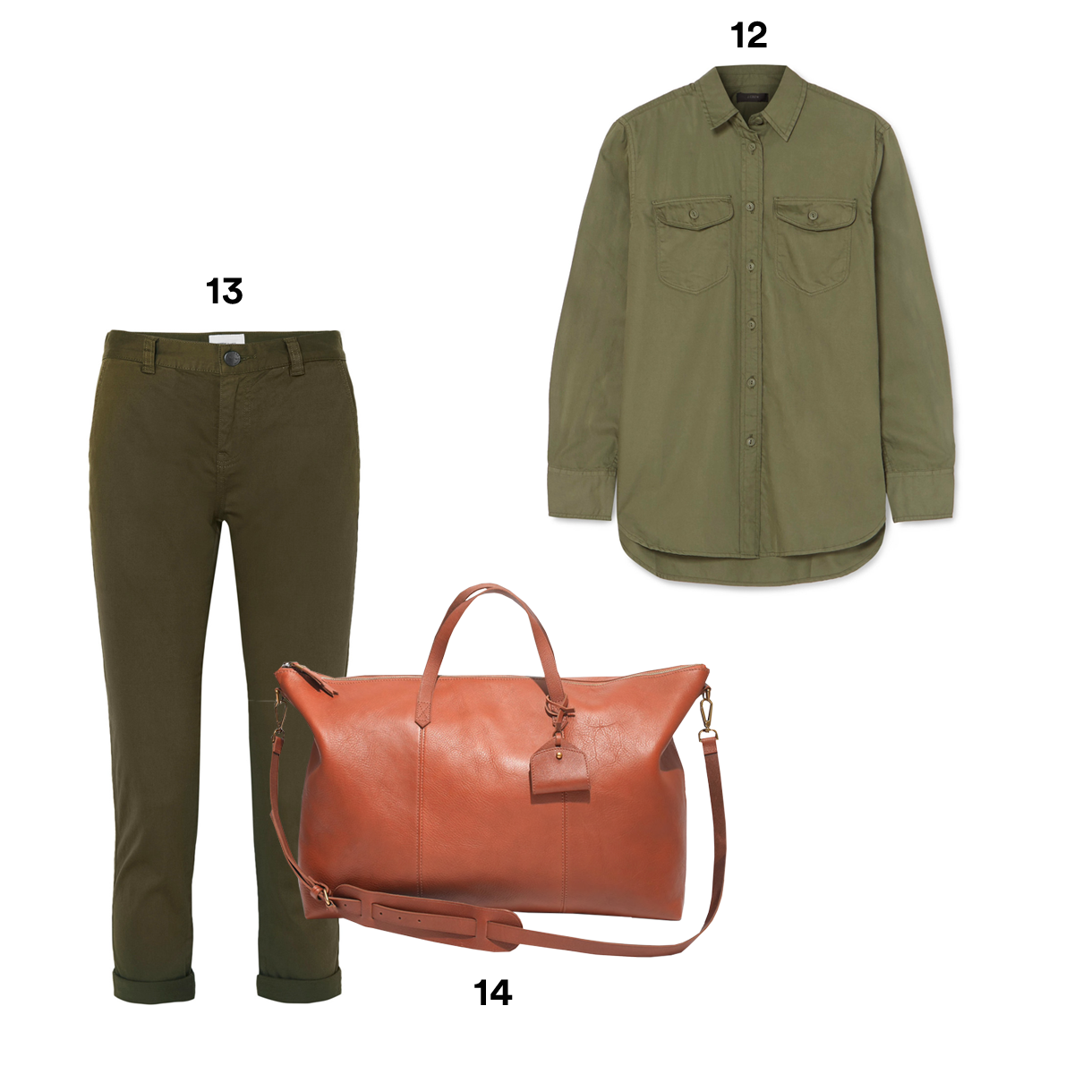 12.) J.CREW Oversized Cotton-Twill Shirt. 13.) CURRENT/ELLIOTT The Confidant Cotton-Blend Twill Straight-Leg Pants, available at Neiman Marcus. 14.) MADEWELL The Transport Weekender.