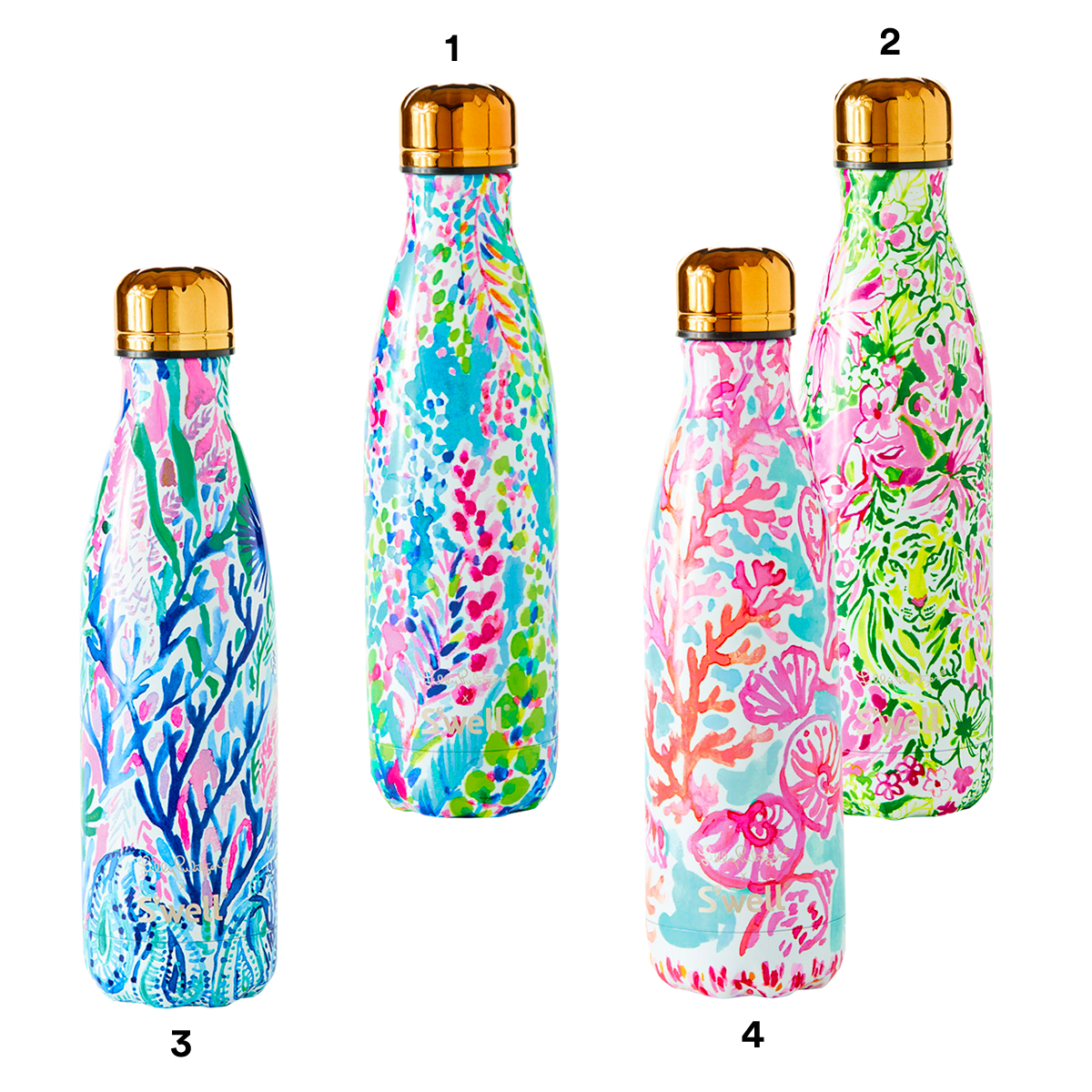 1) LILLY PULITZER Catch the Wave Swell Bottle. 2) LILLY PULITZER In the Groves Swell Bottle. 3) LILLY PULITZER Race to the Wave Swell Bottle. 4) LILLY PULITZER Shell We Dance Swell Bottle.