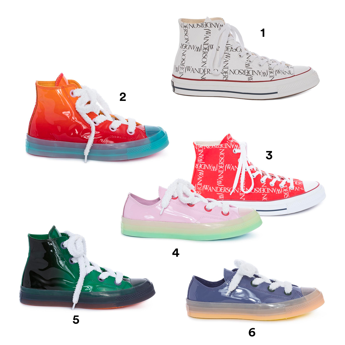 1) JW ANDERSON X CONVERSE White Logo Grid, available at Converse. 2) JW ANDERSON X CONVERSE Fire Patent High Tops, available at Converse. 3) JW ANDERSON X CONVERSE Red Logo Grid, available at Converse. 4) JW ANDERSON X CONVERSE Light Pink Patent Low Tops, available at Converse. 5) JW ANDERSON X CONVERSE Green Patent High Tops, available at Converse. 6) JW ANDERSON X CONVERSE Mauve Patent Low Tops, available at Converse.